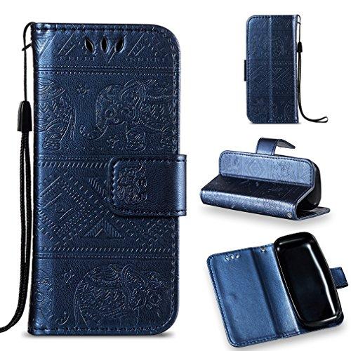 LMFULM® Hülle für Nokia 105 2017 PU Leder Magnet Brieftasche Lederhülle Elefant Prägung Design Stent-Funktion Handyhülle für Nokia 105 Dunkelblau