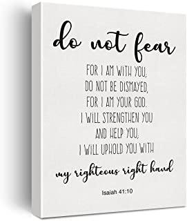 Bible Verse Art Wall Decor Isaiah 41:10 Do Not Fear Scripture Canvas Painting Prints for Home Dining Room Living Room Wall...