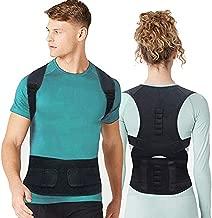 Magnet Back Brace Posture Corrector- Fully Adjustable Support Belt Improves Posture and Provides Lumbar Back Brace, Relieves Pain Upper and Lower Back for Men and Women (Black, Large)