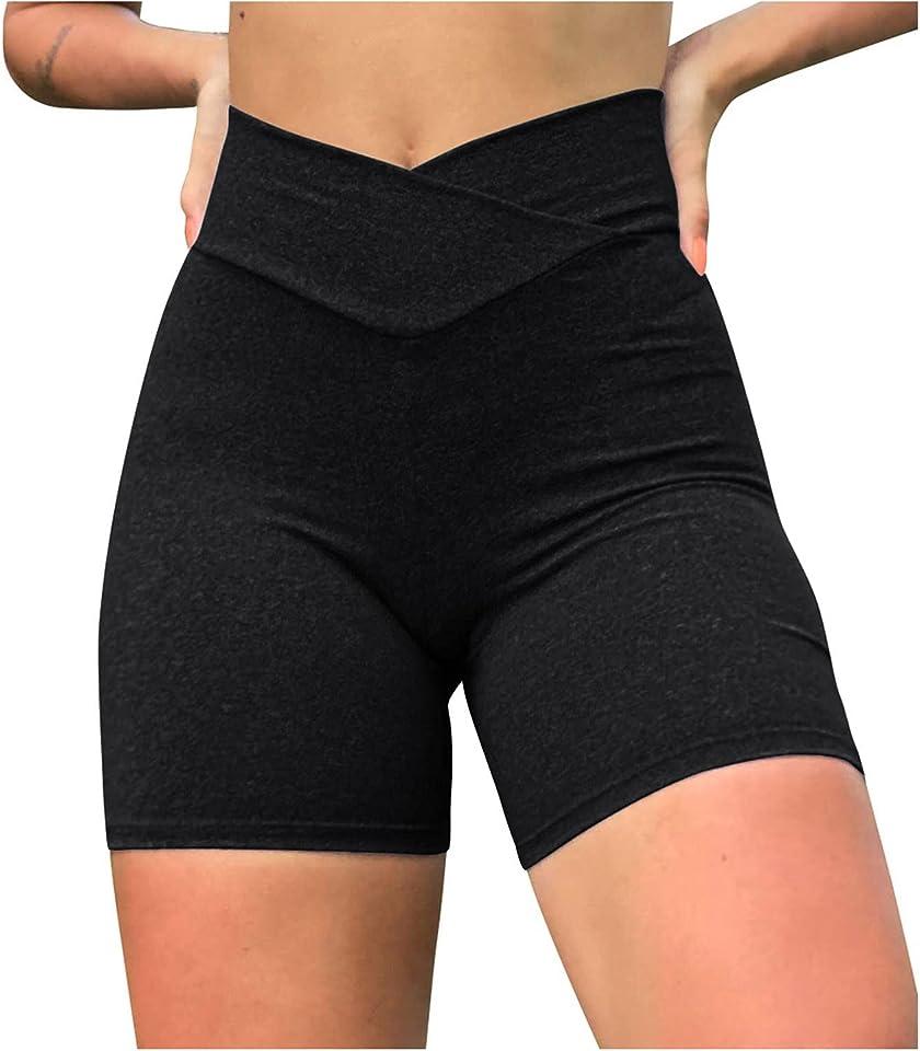 Womens High Waisted Biker Shorts Cross Waist Lightweight Workout Athletic Yoga Shorts Running Leggings with/no Pocket
