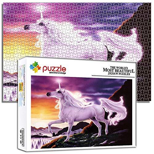 Generichaoge 1000 Piezas Puzzles 1000 Piezas Niños Descompresión Y Regalo Intelectual Desafío Intelectual Puzzles Juguete para Adultos Caballo Unicornio Fantasía Animal 14.96 X 10.23 Pulgada