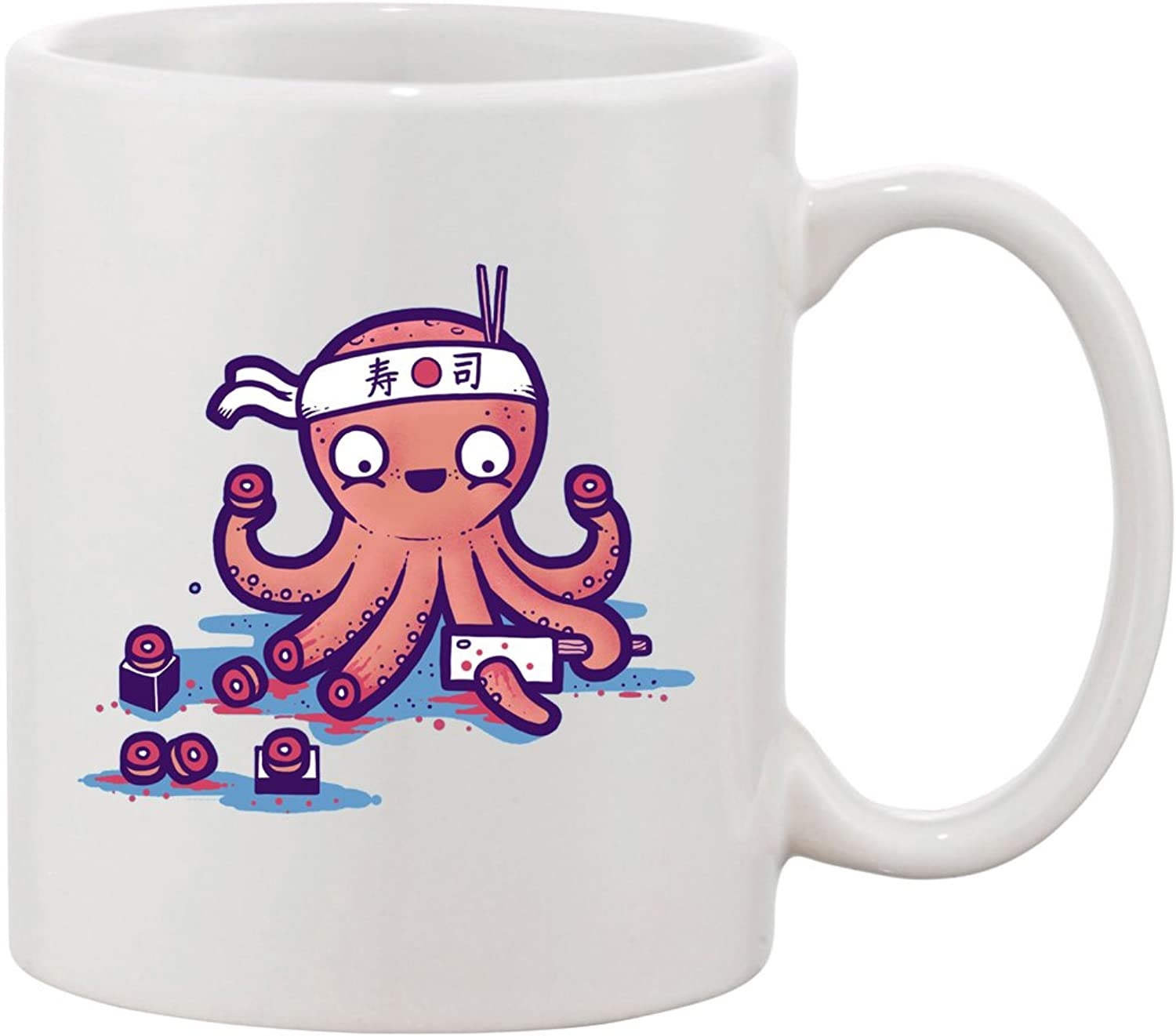 Ceramic Coffee Mug Octosushi funny Japanese Octopus Chef Cutting Tentacles octosushi funny Japanese Octopus Chef Cutting Tentacles