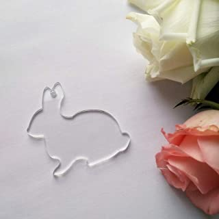 """15PCS of Blank Clear Acrylic Rabbit Key Chains Bunny Pendants Easter Party Gift Laser Cut, 2.5"""""""