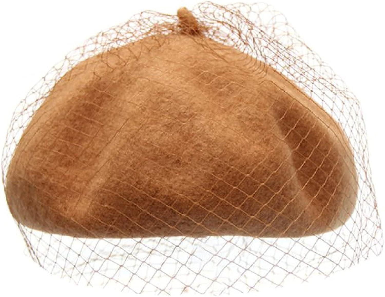 AOBRICON Beret Hat for Women Mystery Net Veil Style Womens Autumn Winter Warm Wool Outdoor Elegant Beanies Bonnet Cap