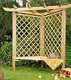Jardín Verde - Banco con Arco Decorativo de Madera 'Cambridge'.Dimensiones: h205x109x154 cm