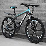 Hs toyT 26 Inch Mountain Bike, Full Suspension Folding Sports Bike, Variable Speed Adult Foldable Bicycle MTB, Dual Disc Brakes for Men & Women (Black and Blue)