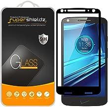 (Paquete de 2) Supershieldz para Motorola (Droid Turbo 2) Protector de pantalla de vidrio templado, (Cobertura de pantalla completa) Anti arañazos, sin burbujas (negro)