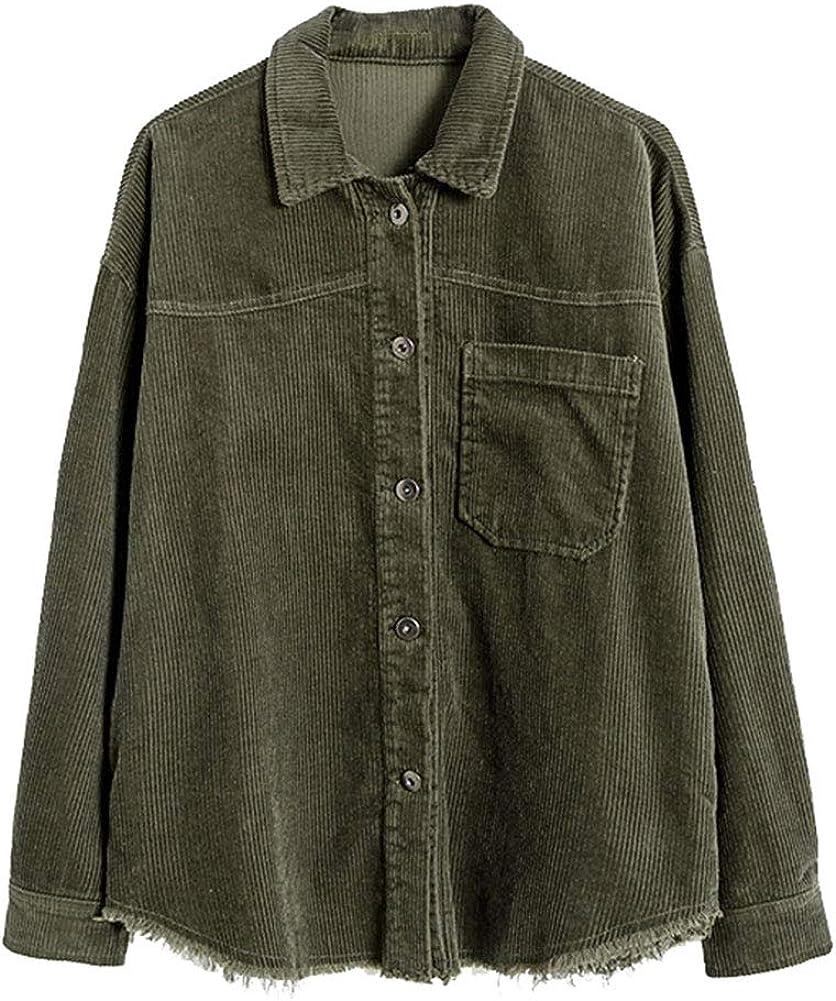 Ladyful Women's Lapel Oversized Corduroy Shirt Frayed Raw Hem Button Down Blouse Top Coat