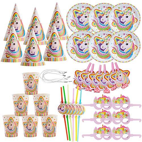 36pcs Plato de papel unicornio,Servilleta unicornio,Accesorios de fiesta de unicornio,Vajilla...
