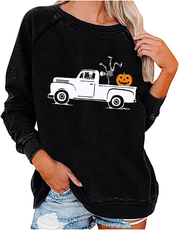 Womens Pullover Sweatshirt Fashion Halloween Printed Long Sleeve Loose Breathable O-Neck Blouse Tee Shirt Tops