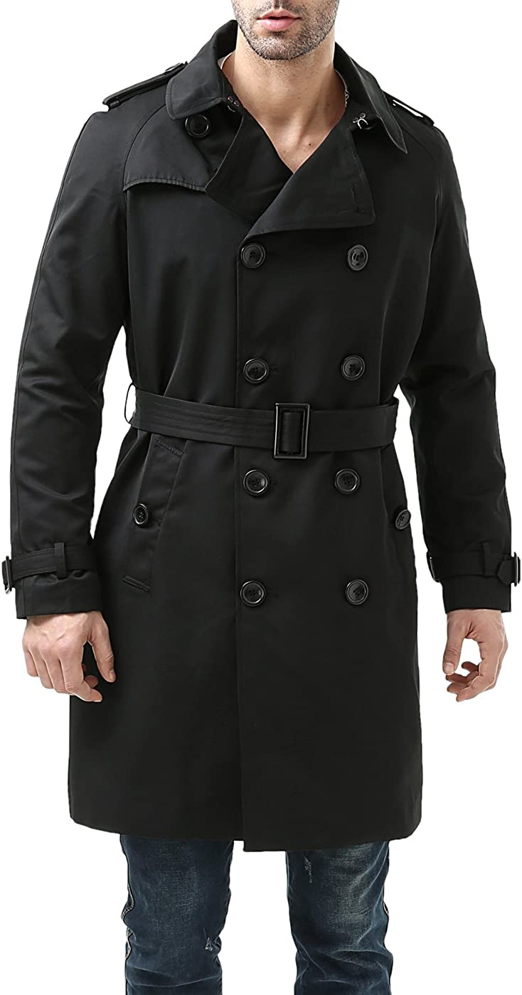 BGSD Men's Waterproof Classic Double Breasted Trench Coat with Removable Liner