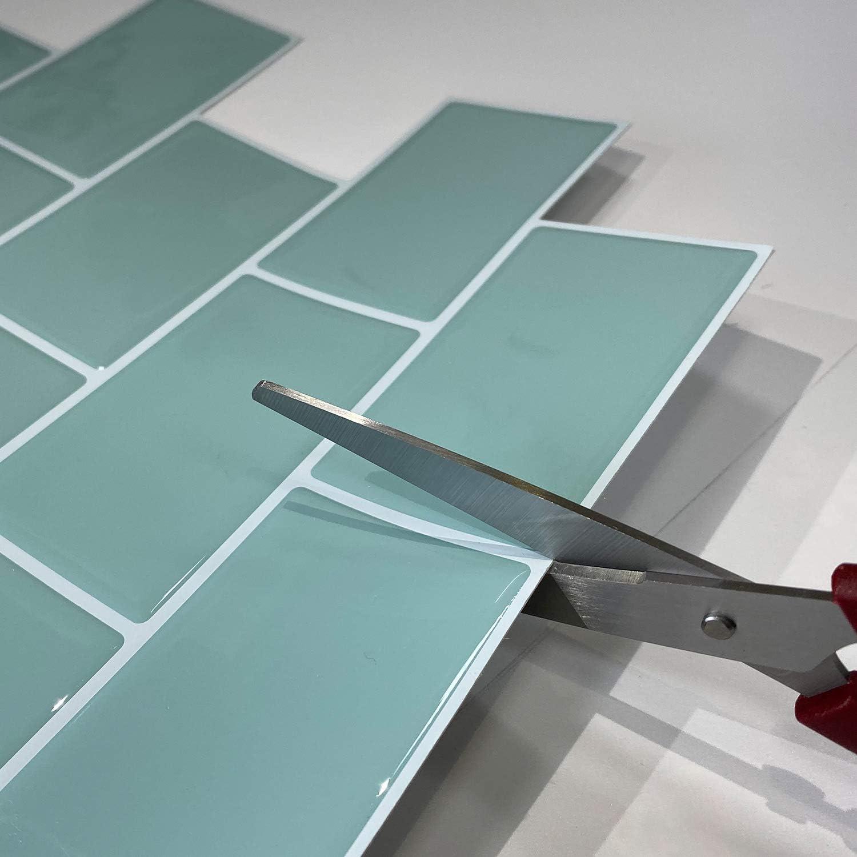 Ladrillo Blanco, 4 profesticker Vinilo Azulejo Adhesivo Cenefa Adhesiva 3D Auto-Adhesivo Pegatina Pared Baldosa Revestimiento Border Decorativo Impermeable Cocina Ba/ño