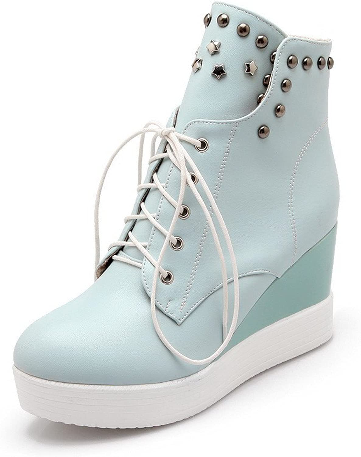AllhqFashion Women's High-Heels Closed Toe Low-top Boots