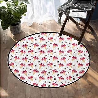 Ice Cream Custom fit Floor mats Childish Pattern Melting Cranberry Ice Cream Cones Dripping Cherries Stars Baby Crawling Area Mats D48 Inch