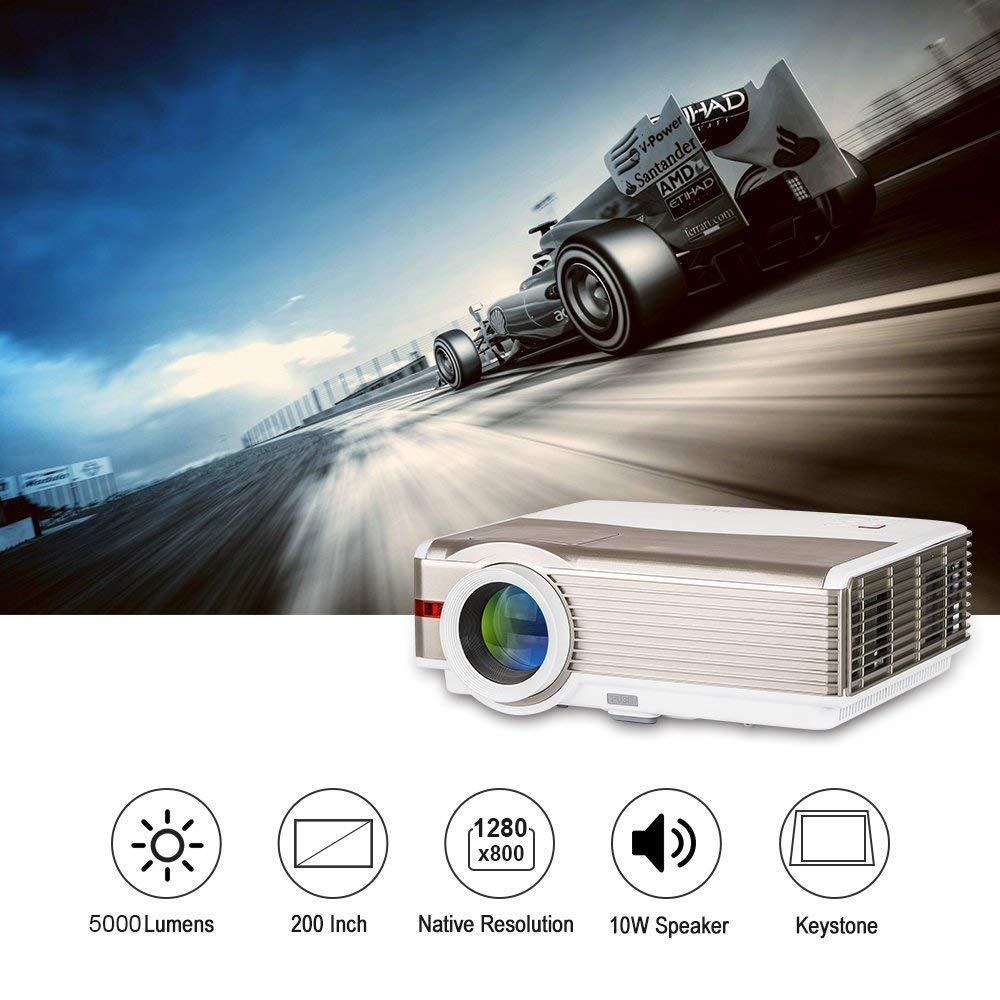 EUG Proyector de video Android LED HD de 5000 lúmenes con soporte ...