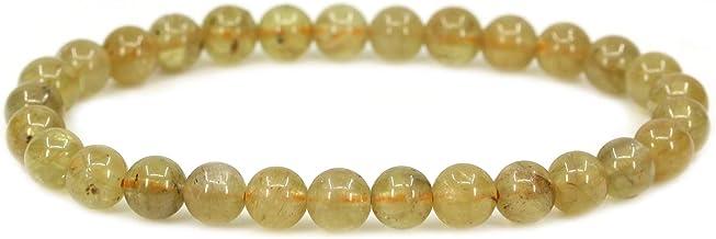 CHENYUE Pulsera elástica de Piedras semipreciosas de 6 mm, Unisex, 7 cm