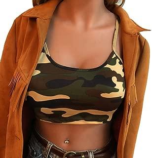 Women Camouflage Printing Sleeveless Tank Top Bustier Bra Vest Camisole Crop Blouse T-Shirt