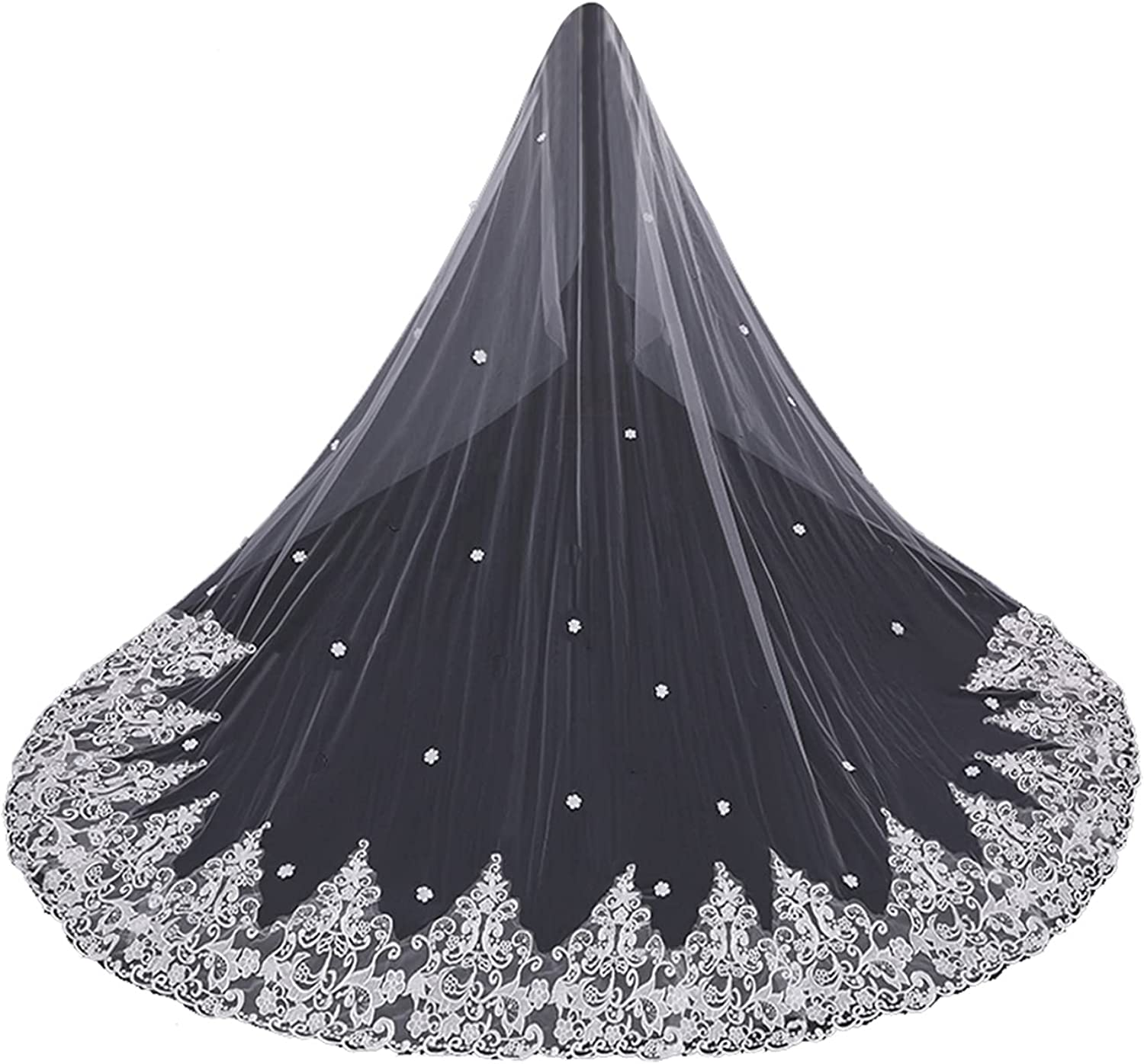 Bridal Veils for Wedding Cathedral with Flower Appliqeus 1 Tier with Comb