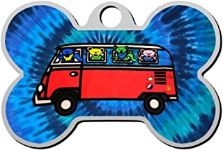 BSARRE Personalized Pet ID Tags for Dogs & Cats Bears On The Bus Double Sided Bone Dog Tag