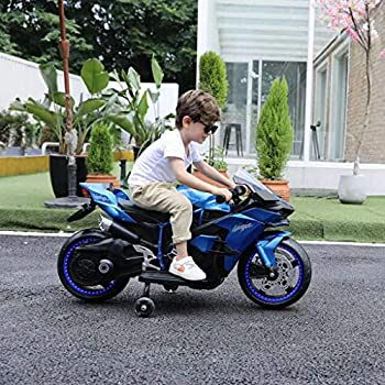 Kids Ride On Motorcycle Car 12V Battery Operated 2 Wheels Toy Tricycle with Headlight & LED Wheels Electric Motorized Bicycle for Boys Girls  from US,Blue
