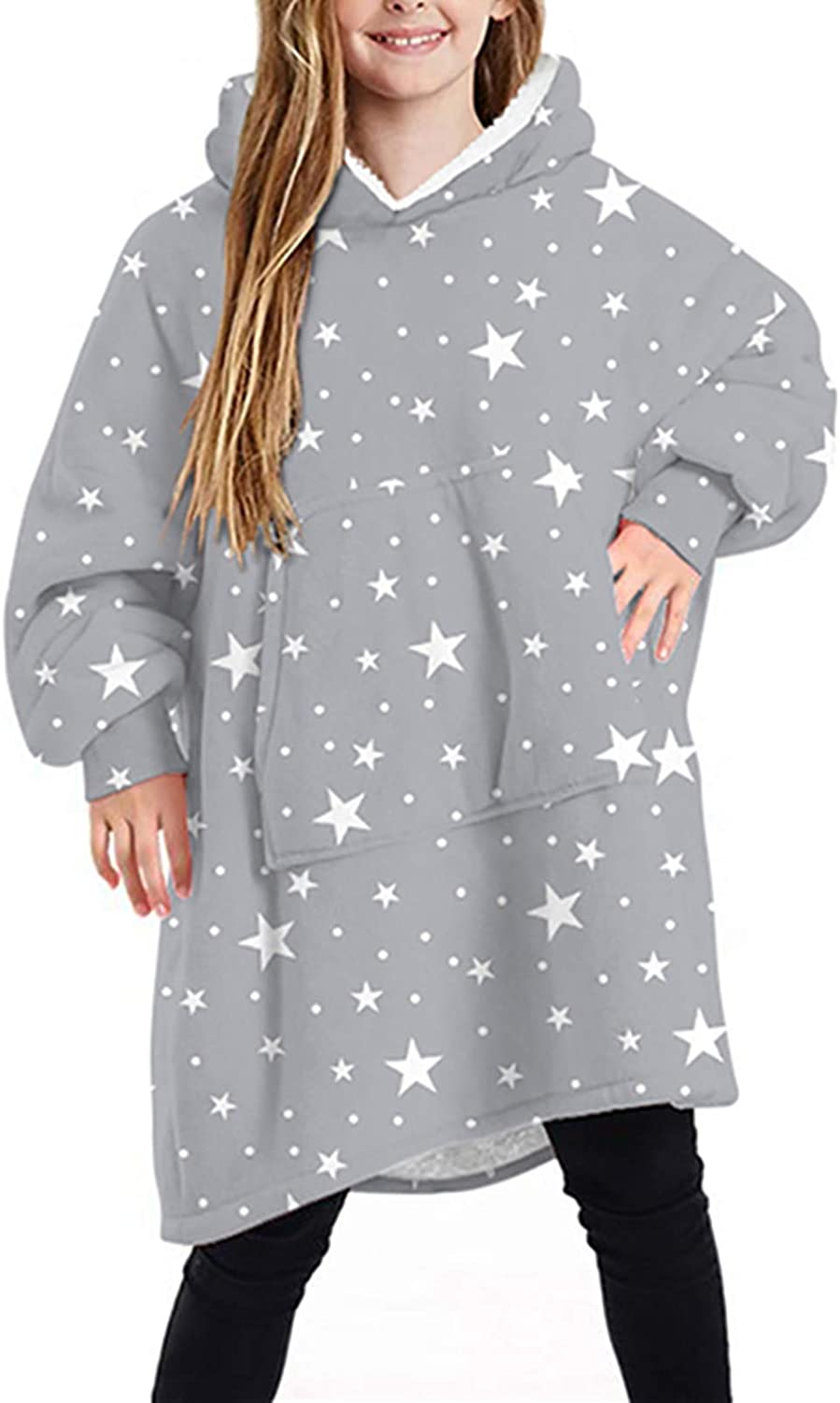 Kids Limited time trial price Oversized Wearable Very popular Blanket Fluffy Snuggle Hooded Sweatshirt
