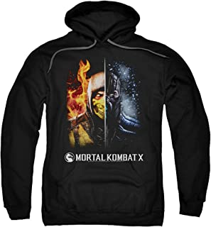 Mortal Kombat Fire And Ice Adult Pull Over Hoodie Black