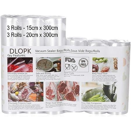 Sac Sous Vide Alimentaire 6 Rouleaux 15 x 300cm et 20 x 300cm Compatible avec n'importe quelle scelleuse sous vide pour la maison,Certification de sécurité alimentaire pour Appareil sous Vide