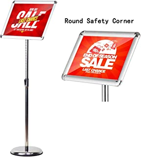 HUAZI Pedestal Standing Sign Holder Adjustable Sign Stand Floor fit for 8.5x11 inches,Heavy Round Base,Both Vertical & Horizontal View Displayed,Snap-Open Frame with Safety Corner,Silver