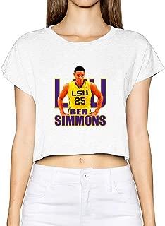 Custom Woman Ben 25# Simmons Sport Player Crop Top Size XL White