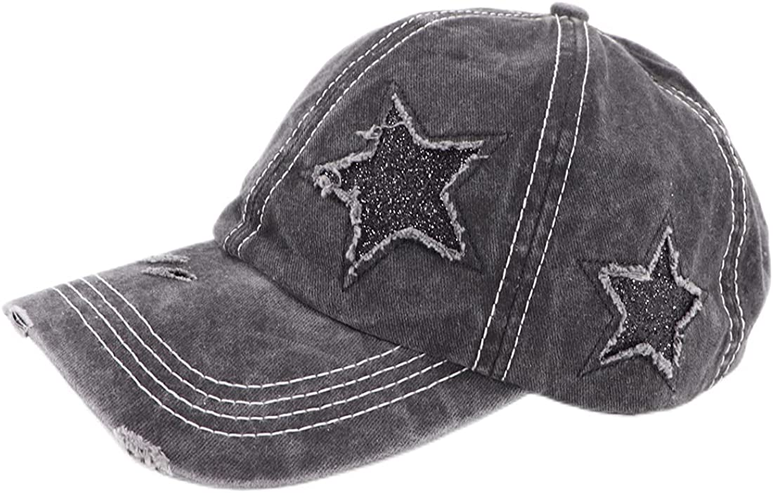 AZfasci Baseball Cap Ponytail Washed Distressed Cotton Denim Dad Trucker Women Hat (Star Black)