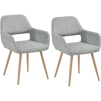 FurnitureR Juego de 2 sillas de Comedor con Brazos Sillas de cojín de Tela con Patas de Metal Resistentes para Comedor Gris