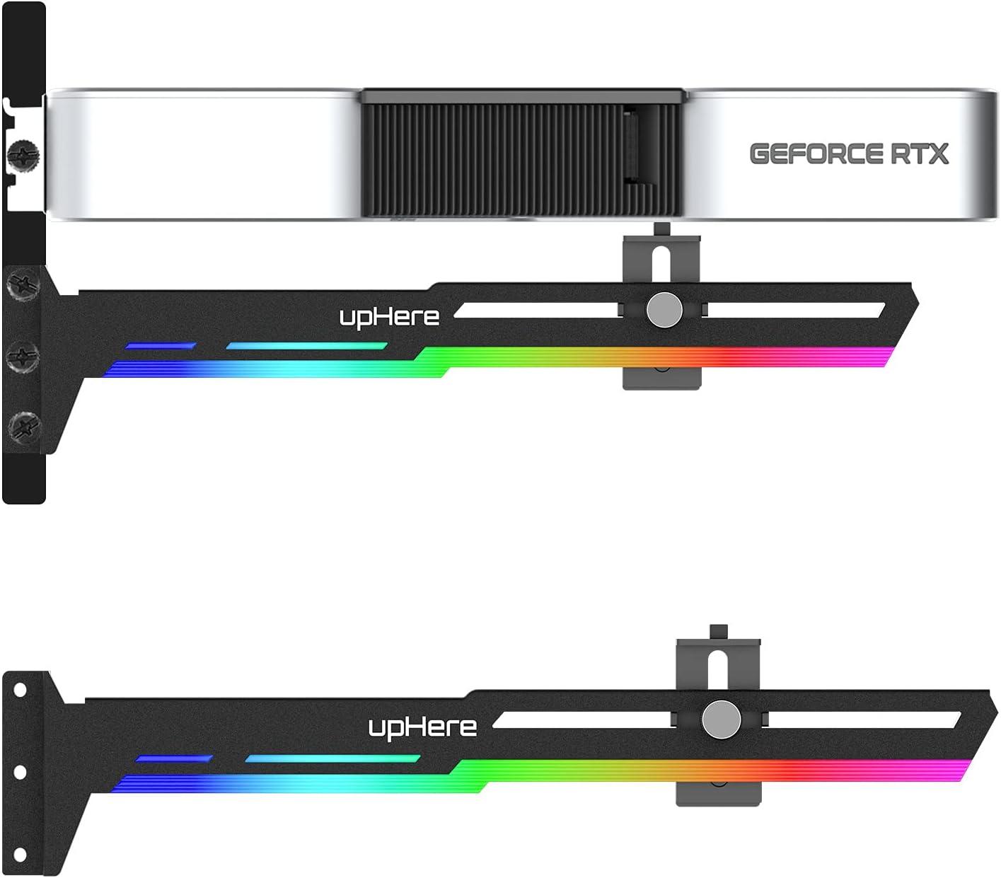 upHere GPU - Tarjeta gráfica de Soporte Rainbow LED para Tarjetas gráficas de vídeo para Soportes de Esfera/Funda para Marco, Tarjetas Individuales o Dobles, G276CF