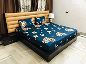 Magnetic Shadow Abstract Hearts Polycotton King Size Elastic Fitted Bedsheets (Teal Blue)