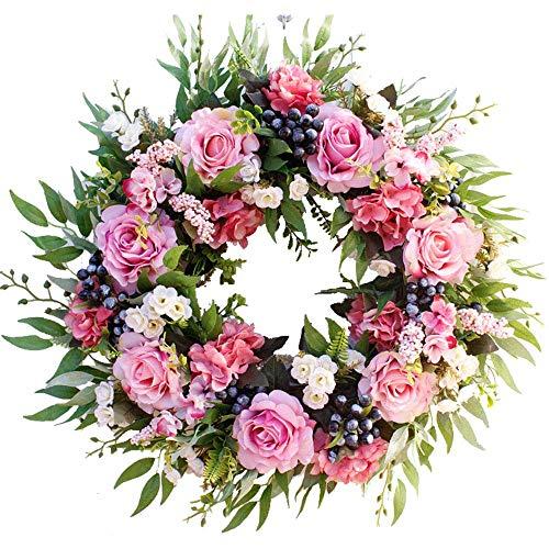 U'Artlines Kunstrose Blumenkranz 40cm Türkranz mit grünen Blättern Weihnachtskranz für Haustür, Hochzeit, Wand, Wohnkultur