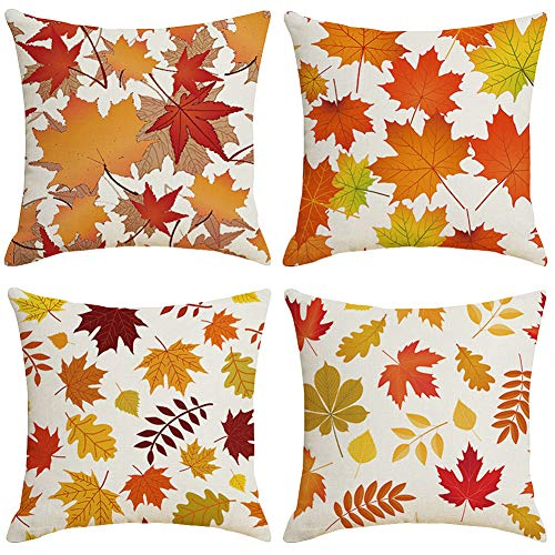 Fall Throw Pillow Covers 18x18 Inch, Set of 4 Home Decorative Autumn Couch Pillow Cases, Outdoor Cotton Linen Pillow Case, Square Cushion Covers for Living Room, Bed, Sofa and Car (Yellow Leaves)
