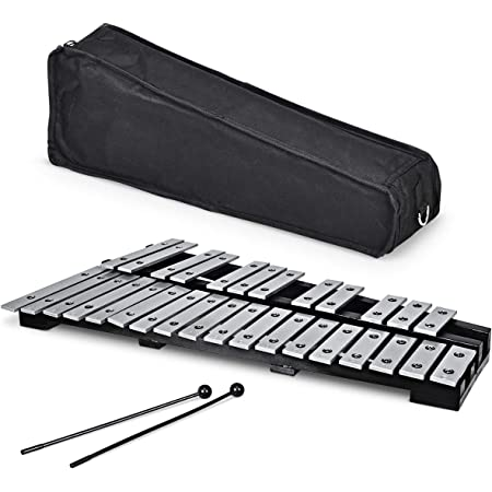 Giantex Foldable Glockenspiel Xylophone 30 Note, with Wood Base and 30 Metal Keys, 2 Mallets, Carrying Bag, Professional Glockenspiel Xylophone Percussion Instrument for Adults and Kids