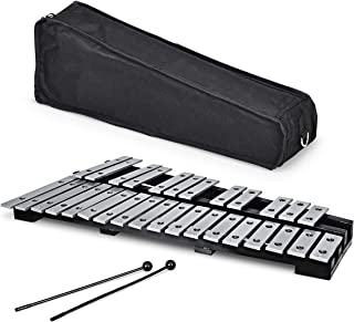 Giantex Foldable Glockenspiel Xylophone 30 Note, with Wood Base and 30 Metal Keys, 2 Mallets, Carrying Bag, Professional G...