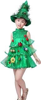 Kids Baby Girls Christmas Tree Sleeveless Party Dress+Hat Costume