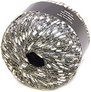 Silvery-White with Gold Glitz Ladder Ribbon Yarn Dark Horse Beautiful #A101 Metallic Ladder