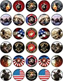 30 x Edible Cupcake Toppers Themed of Marines Corps Collection of Edible Cake Decorations   Uncut Edible on Wafer Sheet