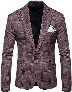 Yanlian Mens England Stylish Blazer Light Weight One Button Slim Fit Smart Formal Suits Jacket