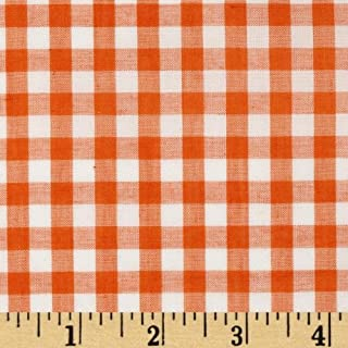 Richland Textiles Wide Width 1/4'' Gingham Check Fabric, Orange, Fabric by the yard
