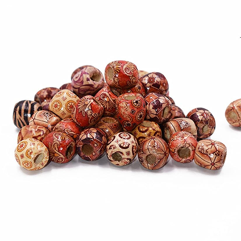 Mixed Painted Drum Wood Spacer Beads 17x16mm (style 1-30pcs)