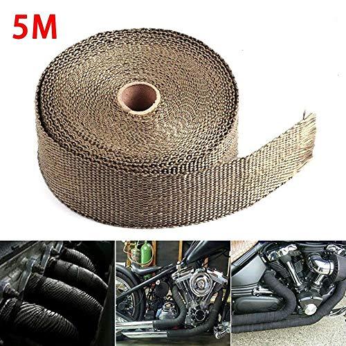 5M Rolle Fiberglas Hitzeschild Motorrad Auspuff-Krümmer Wärme Wrap Band Wärmeschutz Auspuff Wolle (Color : Grey)
