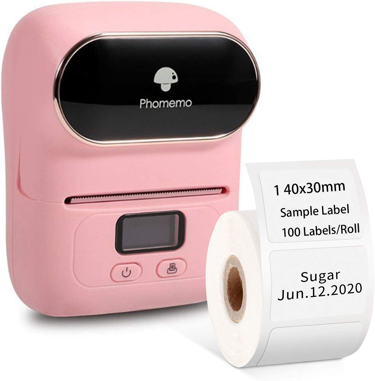 Phomemo-M110 Label Printer- Portable Mini Bluetooth Thermal Label Maker Apply to Labeling, Office, Cable, Retail, Barcode and More, Compatible with Android & iOS System, with 1 40×30mm Label, Pink