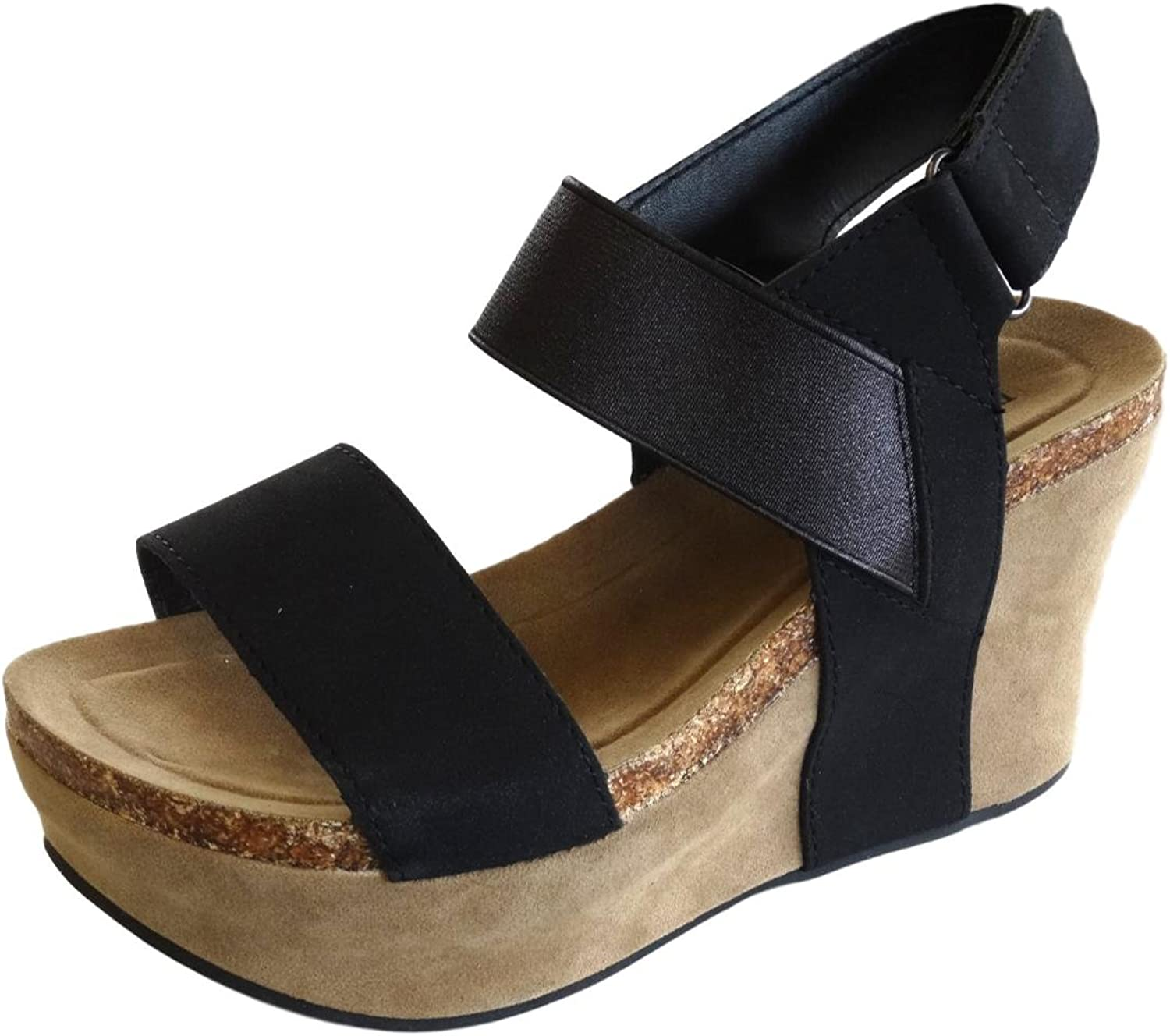 Pierre Dumas Hester-13 Women's Strappy Rounded-Toe Wedge Sandals