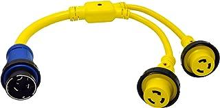 Conntek Marine Shore Y Adapter 50 Amp 125/250 Volt Shore Male Plug to 30 Amp Shore Female Connector (3-Feet)