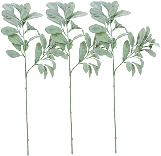 Sunm boutique 3 Pcs Artificial Lamb's Ear Leaf Artificial Greenery Flocked Lambs Ear Leaves in Silver Green for Christmas Festival Wedding Garden Centerpieces Bouquet Floral Arrangement
