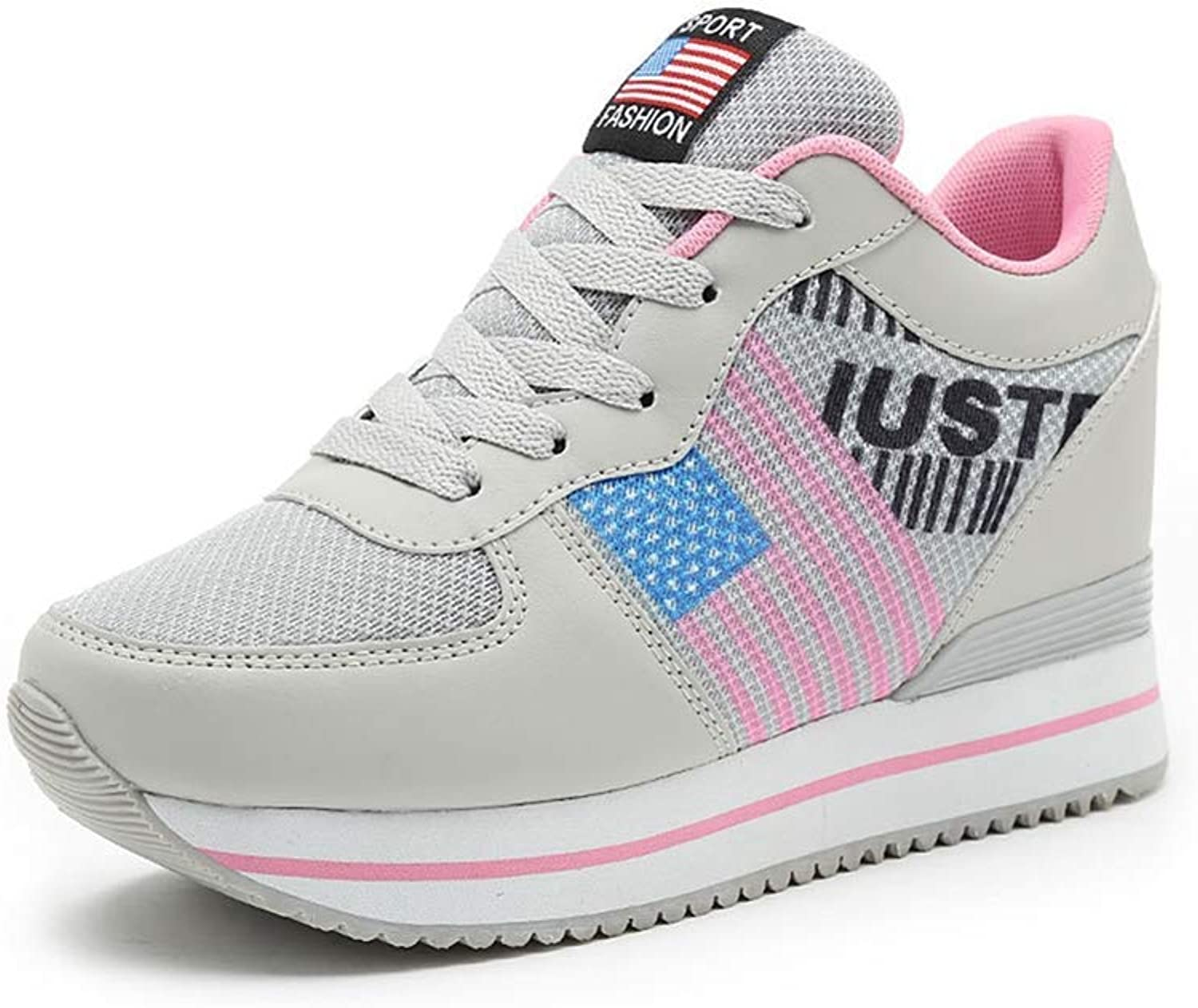 Beautiful - Fashion Womens Wedge Platform Sneakers Casual Soft Sole Mesh Breathable Lace Up Low Top Walking Sports shoes