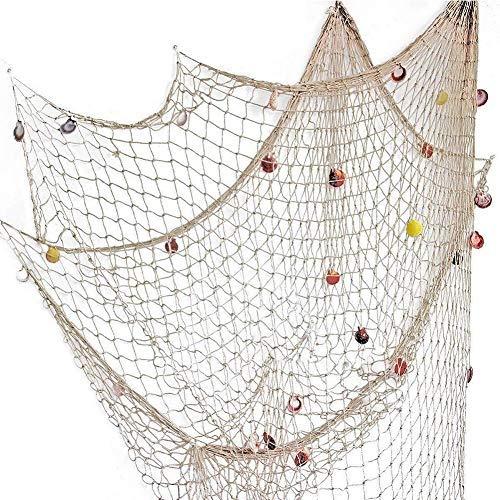 150 * 200cm Fischernetz Dekoration mit Muscheln Dekonetz zum Aufhängen Mediterranen Stil Fischerei Deko Maritime Deko Netze Hintergrund Wand Deko für Zimmer, Hochzeit, Party, Fotografie, Bühne, Beige